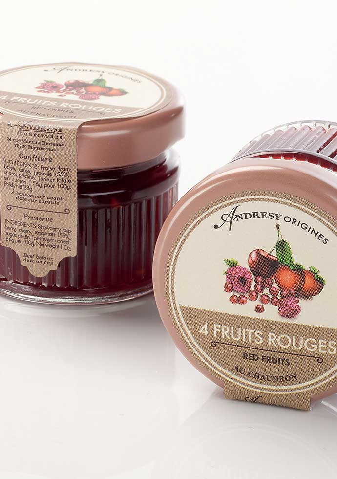 Confiture Andresy Origines 4 fruits rouges